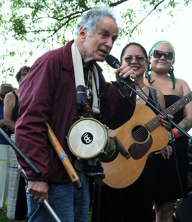 David Amram, delivering a message in song, at the Blessing of the River Ceremony, held along the bank of the Hudson River, on the first day of the Clearwater's Great Hudson River Revival Festival 2013, held at Croton Point Park, in Croton-on-Hudson, NY, June 15, 2013. Photo by Jim Peppler. Copyright Jim Peppler 2013 all rights reserved.