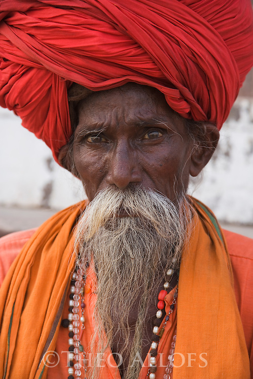 "Indian holy man, ""Sadhu"";  Varanasi has been a cultural and religious center in northern India for several thousand years, Varanasi, Uttar Pradesh, India --- Model Released"