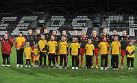 20131031 - ANTWERPEN , BELGIUM : Belgian Team pictured with Nicky Evrard (1) , Heleen Jaques (3) , Lorca Van De Putte (5) , Tessa Wullaert (9) , Aline Zeler (10) , Lien Mermans (14) , Marlies Verbruggen (15) , Maud Coutereels (18) , Lore Vanschoenwinkel (19) , Julie Biesmans (20) and Yana Daniels (21) during the female soccer match between Belgium and Portugal , on the fourth matchday in group 5 of the UEFA qualifying round to the FIFA Women World Cup in Canada 2015 at Het Kiel stadium , Antwerp . Thursday 31st October 2013. PHOTO DAVID CATRY