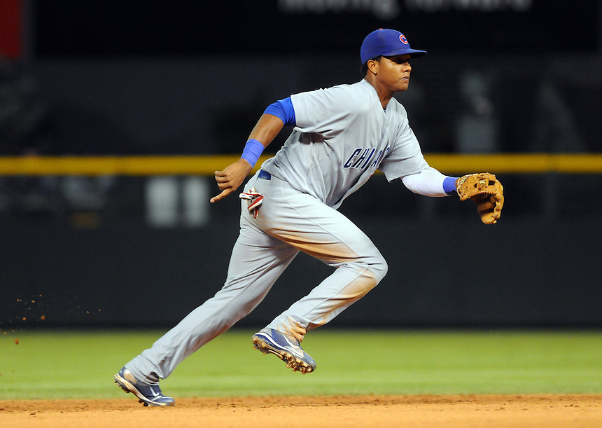 31 JULY 2010: Chicago Cubs shortstop Starlin Castro (13) during a regular season Major League Baseball game between the Colorado Rockies and the Chicago Cubs at Coors Field in Denver, Colorado.   *****For Editorial Use Only*****