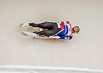 4 December 2015: Aidan Kelly, sliding for the United States of America, enters a curve during his first run of the Viessmann Luge World Cup at the Olympic Sports Track in Lake Placid, New York, USA. Mandatory Credit: Ed Wolfstein Photo *** RAW (NEF) Image File Available ***