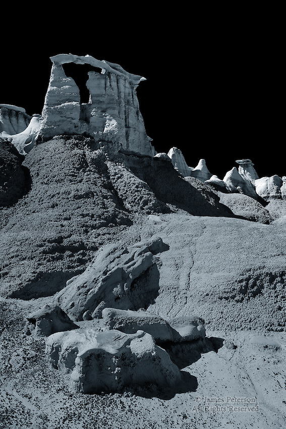 Parthenon Rock, Bisti Badlands Wilderness, New Mexico.  A toned monochrome image, available in sizes up to 40 x 60 inches.