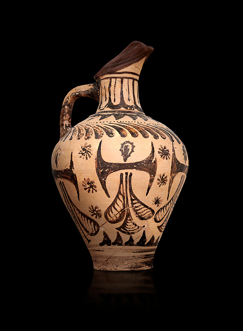 Minoan  beak spouted jug with double axe and sacred knot  decoration, Hagia Triada Royal Villa 1500-1540 BC; Heraklion Archaeological  Museum, black background.