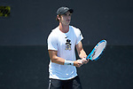 Ian Dempster of the Wake Forest Demon Deacons in action at #3 doubles against the South Carolina Gamecocks during Round Two of the 2018 NCAA Men's Tennis Championship at the Wake Forest Tennis Center on May 13, 2018 in Winston-Salem, North Carolina.  The Demon Deacons defeated the Gamecocks 4-1.  (Brian Westerholt/Sports On Film)