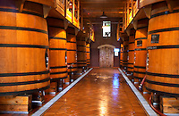 The winery with large wooden fermentation vats. Chateau de Beaucastel, Domaines Perrin, Courthézon Courthezon Vaucluse France Europe