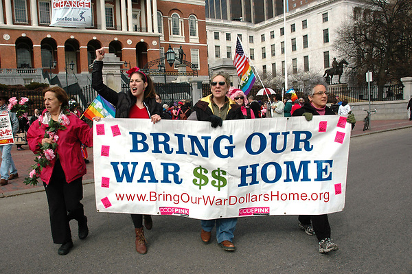 Bring Our War Money Home Fund Main Street not Wall Street banner at celebration of the 100th anniversary of International Women's Day  sponsored by Boston Code Pink and the Women's International League for Peace and freedom at Boston MA 3.5.11
