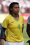 12 August 2008: Tania (BRA).  The women's Olympic team of Brazil defeated the women's Olympic soccer team of Nigeria 3-1 at Beijing Workers' Stadium in Beijing, China in a Group F round-robin match in the Women's Olympic Football competition.