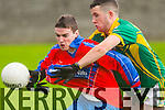 In Action ISK's  Cormac O'Connor and  St. Brendans Mark Harnett at  the  Dunloe Cup Final at Kerins O'Rahillys GAA ground strand Road on Friday : St. Brendans 2-18 IS Killorglin 1-13