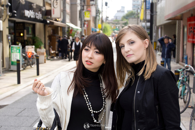 Young twenty-something friends on a day out in Osaka.
