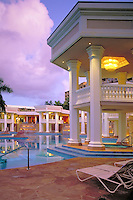 Kauai, Marriott, Resort,  Swimming Pool, Reflections, Architecture, Columns, Dusk, Lihue, Kauai, Hawaii, USA