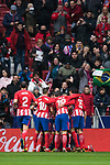 Angel Correa of Atletico de Madrid celebrates his goal with teammates during the La Liga 2017-18 match between Atletico de Madrid and Getafe CF at Wanda Metropolitano on January 06 2018 in Madrid, Spain. Photo by Diego Gonzalez / Power Sport Images