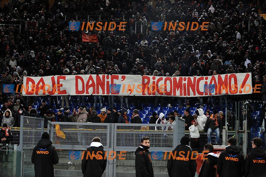Striscione per Daniele De Rossi.Banner for De Rossi.Roma 8/12/2012 Stadio Olimpico.Football Calcio 2012/2013 Serie A.Roma Vs Fiorentina.Foto Andrea Staccioli Insidefoto