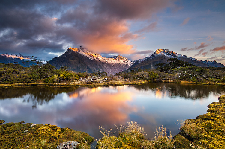 Mount Christina, sunrise, seen from Key Summit on the Routeburn Track in Fiordland National Park, South Island, New Zealand - stock photo, canvas, fine art print