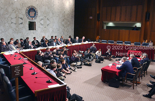 Washington, D.C. - March 23, 2004 -- General view of the meeting of the National Commission on Terrorist Attacks Upon the United States (9/11 Commission) during its 8th Public Hearing in Washington, D.C. on March 23, 2004. Paul Wolfowitz, Donald Rumsfeld, and Richard Myers are at the witness table.<br /> Credit: Ron Sachs / CNP<br /> [RESTRICTION: No New York Metro or other Newspapers within a 75 mile radius of New York City]