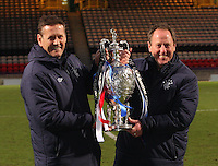 Rangers coaches Billy Kirkwood (left) and Tommy Wilson after winning the Celtic v Rangers City of Glasgow Cup Final match played at Firhill Stadium, Glasgow on 29.4.13,  organised by the Glasgow Football Association and sponsored by City Refrigeration Holdings Ltd.