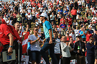 Thorbjorn Olesen (DEN) gets a standing ovation leaving the 16th green to a tremendous applause  during Round 4 of Made in Denmark at Himmerland Golf &amp; Spa Resort, Farso, Denmark. 27/08/2017<br /> Picture: Golffile | Thos Caffrey<br /> <br /> All photo usage must carry mandatory copyright credit     (&copy; Golffile | Thos Caffrey)