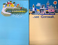 BNPS.co.uk (01202 558833)<br /> Pic: DavidLayFRICS/BNPS<br /> <br /> Colourful posters asking you to, 'See Cornwall'<br /> <br />  A wonderful collection of vintage British travel posters celebrating the golden age of the seaside getaway have emerged for sale for £15,000.<br /> <br /> The posters were produced by Great Western Railway and British Railways between the 1930s to the 1960s to encourage Brits to holiday on the Cornish coast.<br /> <br /> One striking Art Deco poster issued by Great Western Railway shows a lady in an orange swimsuit at Newquay with surfers in the background. <br /> <br /> It describes the popular holiday destination as 'Cornwall's first Atlantic resort'.<br /> <br /> The collection of about 30 posters has been put together by a private collector over the past two decades who is now selling them with auction house David Lay FRICS, of Penzance, Cornwall.