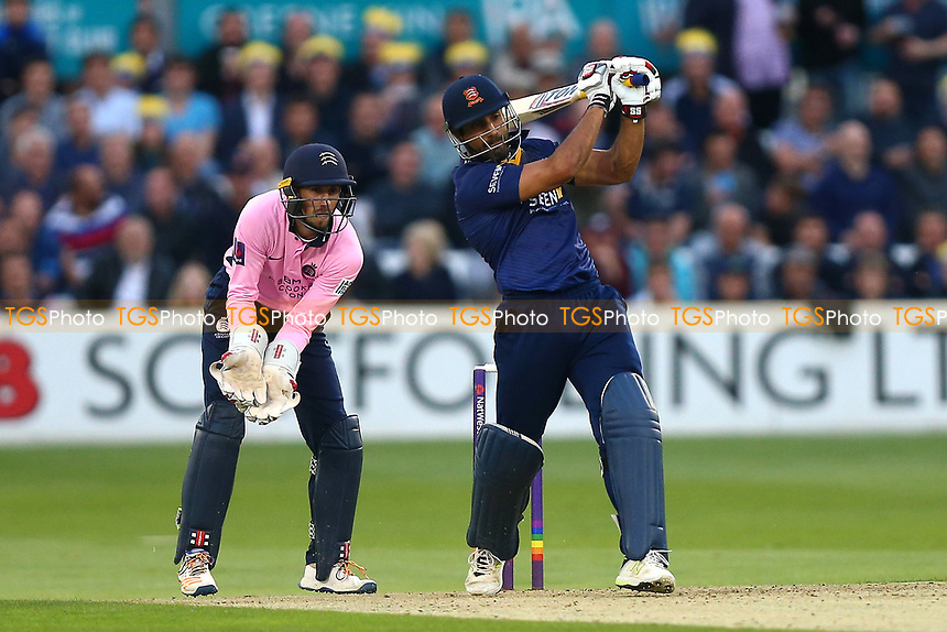 Ravi Bopara hits six runs for Essex as John Simpson looks on from behind the stumps during Essex Eagles vs Middlesex, NatWest T20 Blast Cricket at The Cloudfm County Ground on 11th August 2017