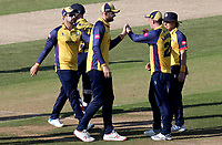 Daniel Lawrence of Essex is congratulated having taken the catch of Liam Dawson during Hampshire vs Essex Eagles, Vitality Blast T20 Cricket at the Ageas Bowl on 25th August 2019