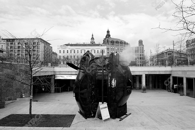 An art installation of three car wrecks stood in Deak Ferenc Square in central Budapest, Hungary, March 23, 2008