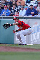 April 14, 2010:  First Baseman Aaron Bates of the Pawtucket Red Sox in the field during a game at Coca-Cola Field in Buffalo, New York.  Pawtucket is the Triple-A International League affiliate of the Boston Red Sox.  Photo By Mike Janes/Four Seam Images