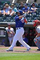 Iowa Cubs Juan Perez (5) swings during the Pacific Coast League game against the Memphis Redbirds at Principal Park on June 7, 2016 in Des Moines, Iowa.  Iowa won 6-5.  (Dennis Hubbard/Four Seam Images)
