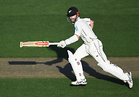 Kane Williamson takes a quick single.<br /> New Zealand Blackcaps v England. 1st day/night test match. Eden Park, Auckland, New Zealand. Day 1, Thursday 22 March 2018. &copy; Copyright Photo: Andrew Cornaga / www.Photosport.nz
