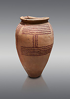 Ancient Egyptian decorated mari ware, class D, baked clay, Predynastic Period, Naqada II Protodynastic Period (3700-300 BC). Egyptian Museum, Turin. <br /> <br /> Mari was a new raw material used to make vases from Naqada II onwards. The material was a marl of rich clay found in some ancient Egyptian desert site which was pulverised and mixed with water. Typically the pottery had a rosy sinish when fired making a good background for painted motifs.
