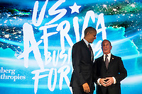 United States President Barack Obama talks with former New York City mayor Michael Bloomberg before speaking at the U.S.-Africa Business Forum at the Plaza Hotel, September 21, 2016 in New York City. The forum is focused on trade and investment opportunities on the African continent for African heads of government and American business leaders. Photo Credit: Drew Angerer/CNP/AdMedia