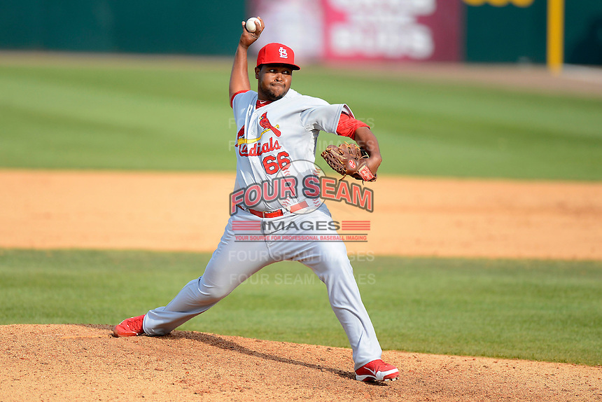 St. Louis Cardinals pitcher Victor Marte #66 during a Spring Training game against the Houston Astros at Osceola County Stadium on March 1, 2013 in Kissimmee, Florida.  The game ended in a tie at 8-8.  (Mike Janes/Four Seam Images)