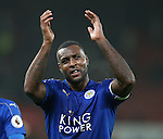 Wes Morgan of Leicester City applauds the fans during the English Premier League match at the Bet 365 Stadium, Stoke on Trent. Picture date: December 17th, 2016. Pic Simon Bellis/Sportimage