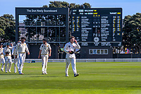 Wellington's Michael Bracewell leads his team off at the end of play during day four of the Plunket Shield cricket match between the Wellington Firebirds and Canterbury at Basin Reserve in Wellington, New Zealand on Friday, 1 November 2019. Photo: Dave Lintott / lintottphoto.co.nz