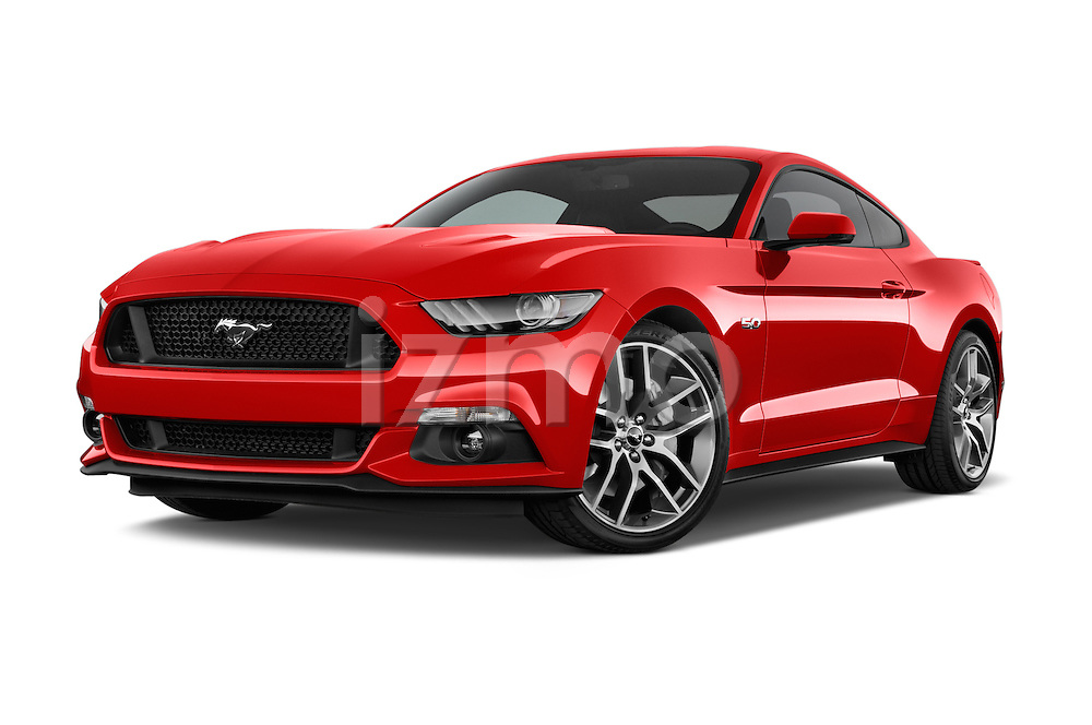 Stock pictures of low aggressive front three quarter view of a 2017 Ford Mustang GT Premium 2 Door Coupe