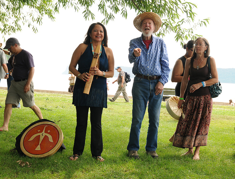 "Pete Seeger and others (Joanne Shenandoah, Margo Thunderbird, and others conducting a ""River Blessing"" Ceremony near the Hudson River Shoreline during the Clearwater's Great Hudson River Revival Music & Environmental Festival 2011 at Croton Point Park, Croton-on-Hudson, NY on Saturday June 18, 2011. Photo copyright Jim Peppler/2011."