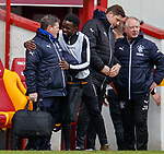 31.3.2018: Motherwell v Rangers: <br /> Jimmy Bell and Gael Bigirmana at full time