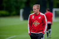SWANSEA, WALES - JULY 2: Manager of Swansea City, Garry Monk loos on  during the Swansea City training session at the Landore Training Centre on July 2, 2015 in Swansea, Wales.  (photo by Athena Pictures)