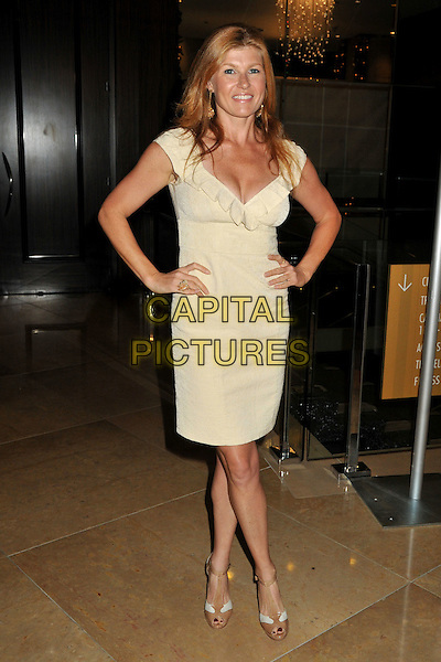 CONNIE BRITTON.4th Annual Christopher & Dana Reeve Foundation Benefit Gala at the Beverly Hilton Hotel, Beverly Hills, California, USA..December 2nd, 2008.full length white cream dress hands on hips pleats pleated ruffled ruffles collar.CAP/ADM/BP.©Byron Purvis/AdMedia/Capital Pictures.