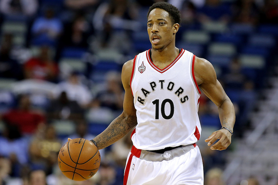 NEW ORLEANS, LA - MARCH 26:  DeMar DeRozan #10 of the Toronto Raptors drives with the ball during a game at the Smoothie King Center on March 26, 2016 in New Orleans, Louisiana. NOTE TO USER: User expressly acknowledges and agrees that, by downloading and or using this photograph, User is consenting to the terms and conditions of the Getty Images License Agreement.  (Photo by Jonathan Bachman/Getty Images)