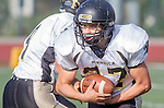 Manhattan Beach, CA 10/24/13 - Nick Orlando (Peninsula #27) in action during the Palos Verdes Peninsula and Mira Costa Junior Varsity Football game at Mira Costa High School.