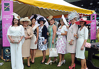 Pictured enjoying the summer fayre on the Ross Hotel / Lane Bar Champagne &amp; Cocktail Marquee at Killarney Races ladies Day on Thursday were from left, Dorothy Evans, Nora Evans, Tara Evans, Bridie Evans, Miriam Davidson, Clodagh Whittleton, Laura and Anne Dellaway all from Kilcummin.<br /> Picture by Don MacMonagle<br /> <br /> <br /> PR Photo from Ross Hotel