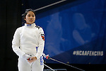 25 MAR 2016:  Princeton's Charlene Liu waits for a judges ruling during her women's epee final match at the Division I Women's Fencing Championship held at the Gosman Sports and Convention Center in Waltham, MA.   Damian Strohmeyer/NCAA Photos