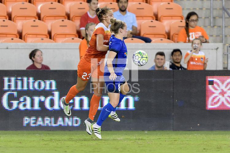 Houston, TX - Sunday Sept. 25, 2016: Cami Privett, Kim Little during a regular season National Women's Soccer League (NWSL) match between the Houston Dash and the Seattle Reign FC at BBVA Compass Stadium.