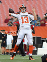 CLEVELAND, OH - AUGUST 18, 2016: Quarterback Josh McCown #13 of the Cleveland Browns throws a pass prior to a preseason game on August 18, 2016 against the Atlanta Falcons at FirstEnergy Stadium in Cleveland, Ohio. Atlanta won 24-13. (Photo by: 2016 Nick Cammett/Diamond Images) *** Local Caption *** Josh McCown
