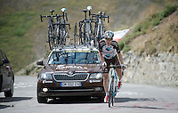 Jan Bakelants (BEL/Ag2r-LaMondiale) up the Col d'Allos (1C/2250m/14km/5.5%)<br /> <br /> stage 17: Digne-les-Bains - Pra Loup (161km)<br /> 2015 Tour de France