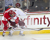 Wade Megan (BU - 18), Colin Sullivan (BC - 2) - The Boston College Eagles defeated the visiting Boston University Terriers 5-2 on Saturday, December 1, 2012, at Kelley Rink in Conte Forum in Chestnut Hill, Massachusetts.