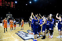 The Giants thank their fans after the national basketball league semifinal match between Nelson Giants and Southland Sharks at TSB Bank Arena in Wellington, New Zealand on Saturday, 4 August 2018. Photo: Dave Lintott / lintottphoto.co.nz