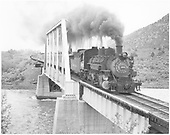 Pilot end, engineer side angle view of K-36 #480 crossing the Animas River at Bondad with Illini Railroad Club.<br /> D&amp;RGW  Bondad, CO  Taken by Collins, Robert F. - 1960
