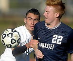 (Worcester, Ma 111613) Sutton 6, Ryan Eister, and Cohasset Middle 22, Schuyler Van Pelt, are hand in hand after the ball in the second half,  Sutton High School beat Cohasset Middle High 4-0 during the MIAA State Boys Division Four Final, Saturday, November 16, 2013, at Foley Stadium in Worcester. (Jim Michaud Photo) For Sunday
