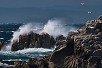 Waves crash agains the rocks along 17-Mile Drive between Carmel and Monterey in California