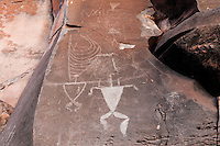 Authentic Hawaiian petroglyphs of human figures & canoe sail, Olowalu, Maui